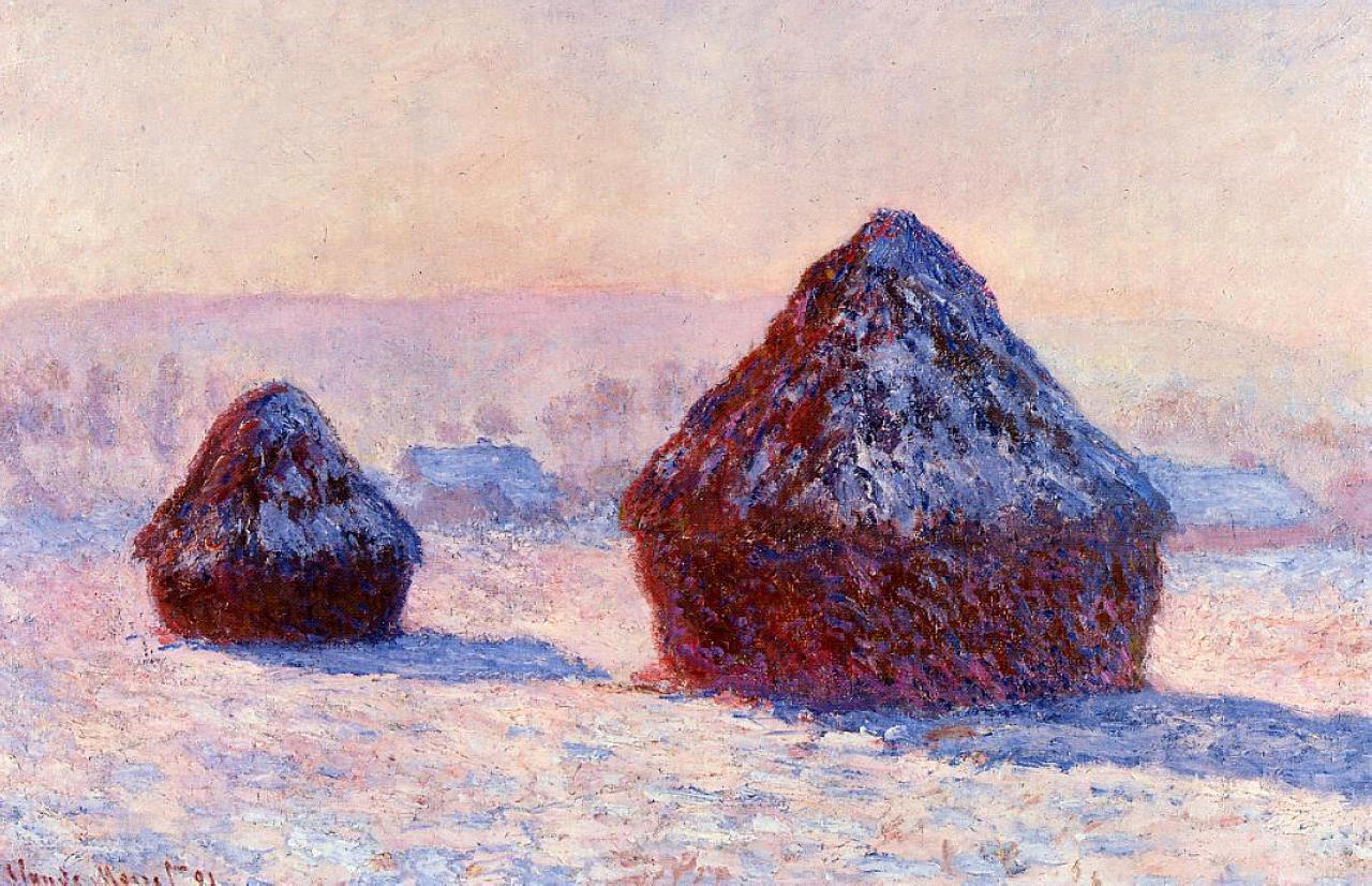 Monet, Grain Stacks in the Morning, Snow Effect