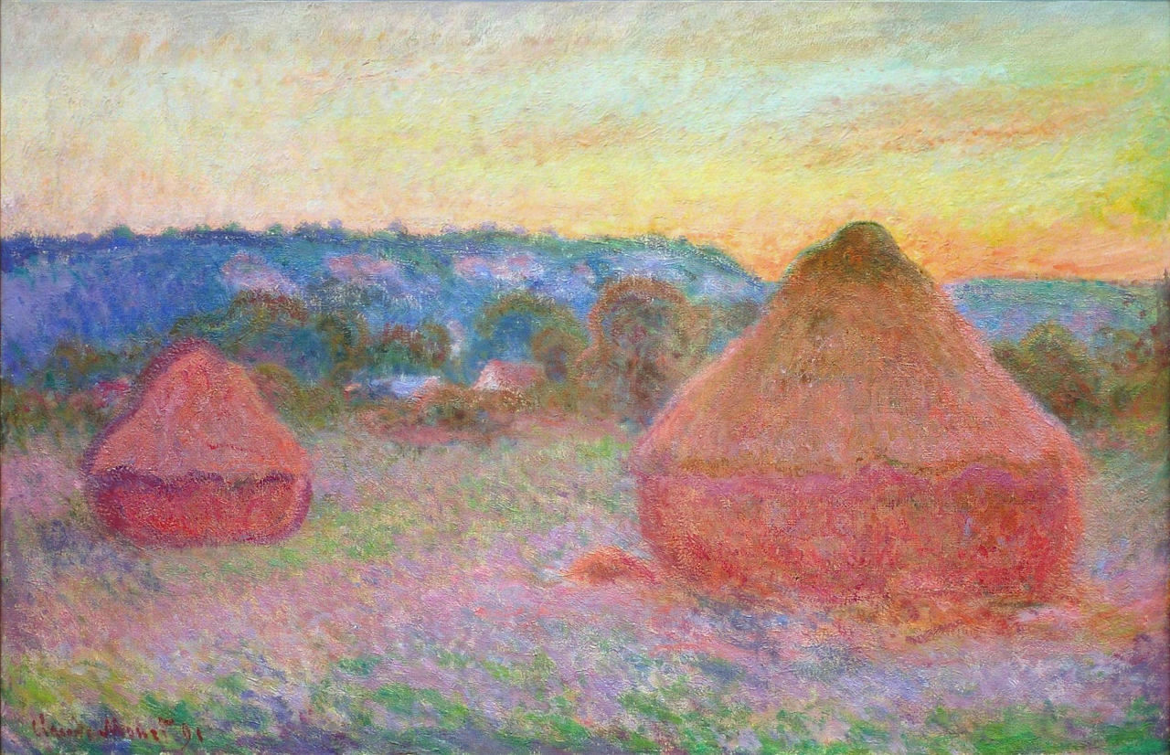 Monet, Grain Stacks at the end of the day autumn