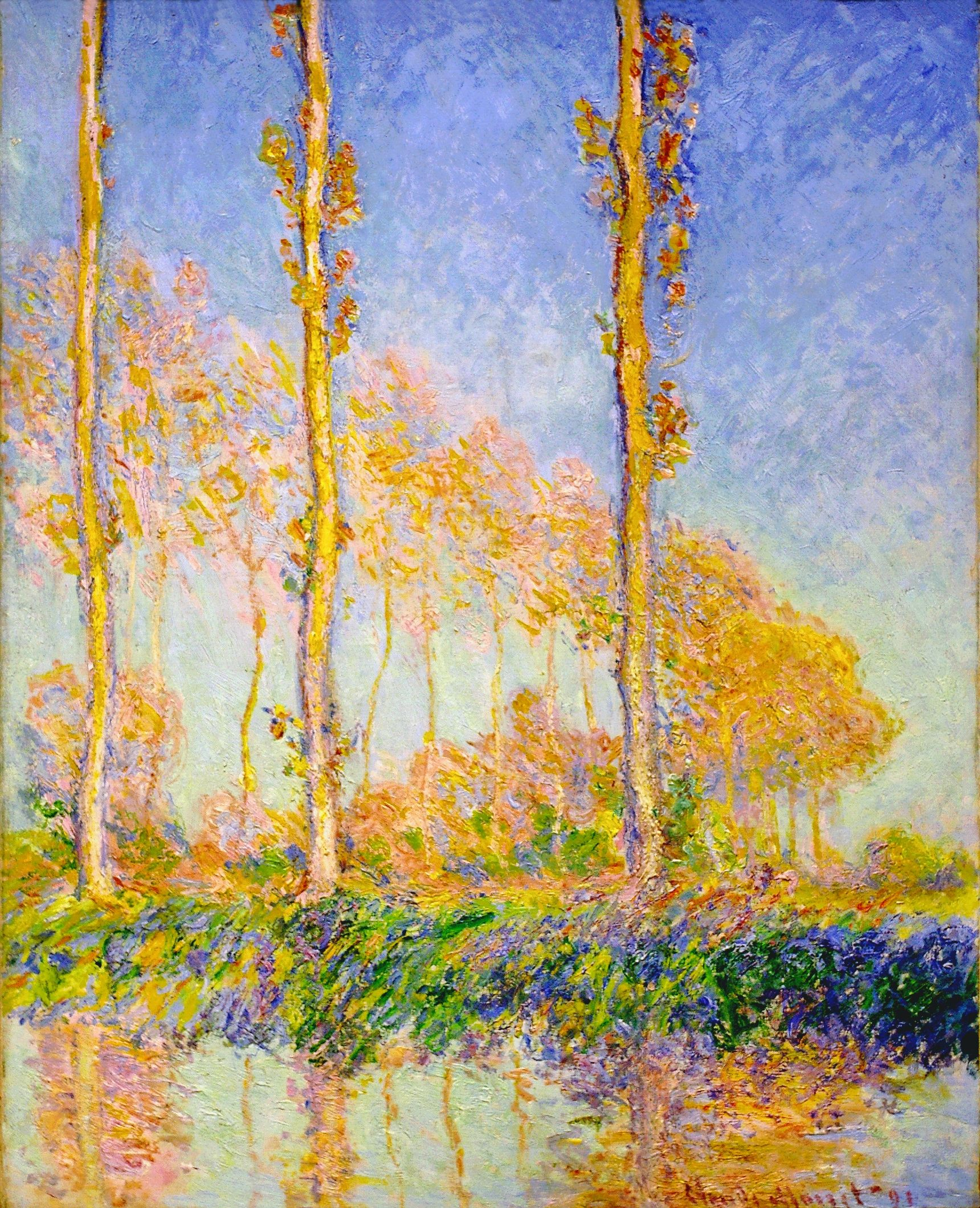 Monet, Poplars, autumn pink effect